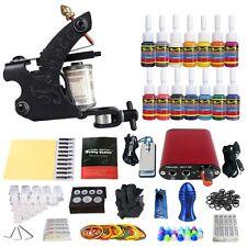 Complete Tattoo Kit 1 Tattoo Machine Guns 14 Inks Power Supply Grips Tips TK101