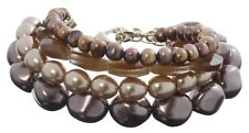 £70 Gold Brown Freshwater Pearl Faceted Glass Multi 4 Strand Statement Bracelet