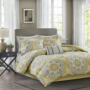 Luxury Yellow & Grey Oversize Medallions Comforter Set AND Matching Sheet Set