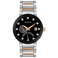 Bulova Diamonds Men's 98D129 Quartz Black Dial Two-Tone Bracelet 44mm Watch