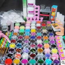 Pro Full Acrylic Glitter Powder Liquid Block Brush Glue Tips NAIL ART KIT/Set KJ