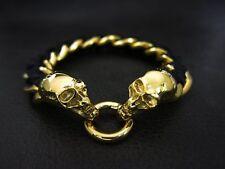 Luxury Gold Skull Black Leather Chain Bracelet for Harley Davidson Biker 173