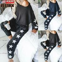 2Pcs Women Casual Off Shoulder Print Tracksuit Suit Long Sleeve Top Bottoms Set