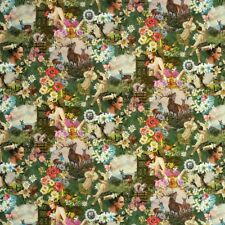 Baumwollstoff Digitaldruck Hirsch Blume Tracht