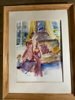 """M Rosen """"Female In Interior Scene"""" Watercolor Painting  Signed And Framed"""
