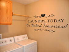 "Laundry Wall Quote ""Laundry Today Or.."" Wall Art Sticker, Decal, Modern Transfer"