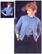"Ladies' 4 Ply Lacy Twinset Cardi Sweater Large 40 - 50"" Knitting Pattern 10028"