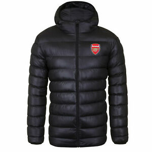 Official Arsenal FC Football Quilted Jacket Mens Large Hooded Winter Coat