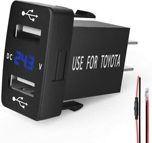 MICTUNING 2.1A Dual USB Charger Socket + LED Blue Voltmeter for Toyota 40x20mm