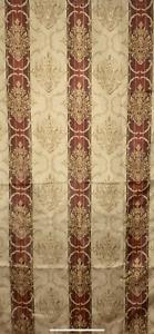 "Croscill Classics Burgundy Gold Damask Striped Paneled Shower Curtain 70"" x 72"""