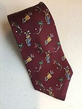 Mens Tie, By Rooster, Burgundy with Golf Bags and Clubs as a Theme.  (#H)