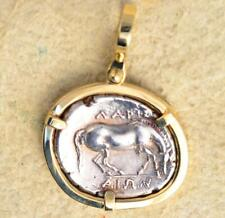 Ancient Greek Thessaly Larissa Horse Silver Drachm in 14kt Gold Pendant 350 B.C.