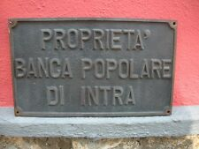 BANCA POPOLARE DI INTRA Targa BRONZO Originale 1950 Tabella Rilievo SEDE CHIUSA