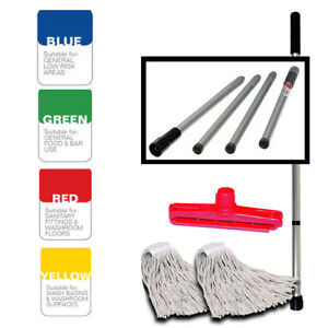 Coded SYR Kentucky Professional Steel Fold Down Mop Handle With x 2  Mop Heads