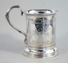 BEAUTIFUL ANTIQUE STERLING SILVER TANKARD 1856  156 Grams cup mug beaker vintage