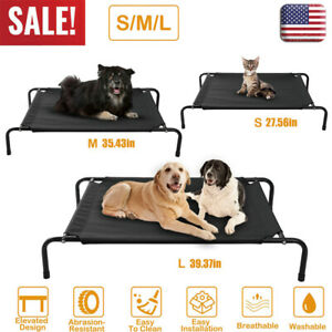 Portable Indoor//Outdoor Pet Lounge Detachable Cover Reversible Elevated Cat Cot Bed Striped Canvas /& White Fleece Stable PVC Frame Winter Summer Dual-purpose Cat Hammock Puppy Nest Camping Bed