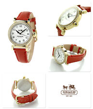NWT COACH 14502400 GOLD-TONE GLITZ CASE RED LEATHER STRAP WOMEN'S WATCH