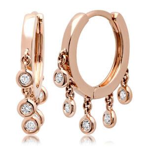 0.22CT 14K Rose Gold Round Real Diamond Bezel Shaker Hoop Cuff Huggie Earrings