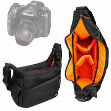 Premium Quality Shoulder 'Sling' Bag in Black & Orange for Pentax K-1 Camera