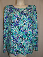 LANDS' END Top Women's Plus Size 3X 24/26W Blue Nylon Spandex Long Sleeve Shirt