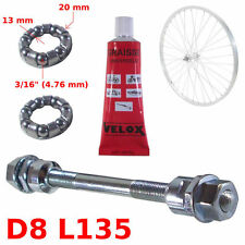 "SET FRONT AXLE 8 x 135 MM + BALL BEARING 3/16"" + GREASE HUB BIKE WHEEL VINTAGE"