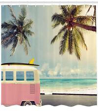 Shower Curtain Retro Decor Minivan on Beach Retro Inspired 84 Inches Extra Long