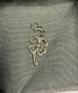 Silver Four Leaf Clover Charm, Clip on for Bracelet