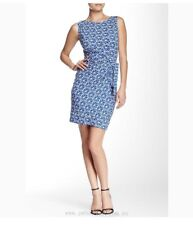 NWT DVF New Della Faux Wrap Dress In Lace Petals Blue. Size 10
