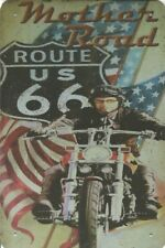 AMERICA USA ROUTE 66 AUTOSTRADA MOTHER ROAD BSA Norton Stile Biker in Metallo Targa Firmare B171