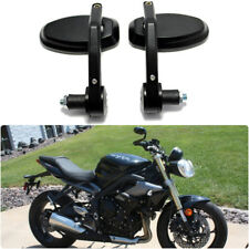 """USA 7/8"""" Handle Bar End Oval Wing Mirrors For Naked Bike Triumph Street Triple R"""