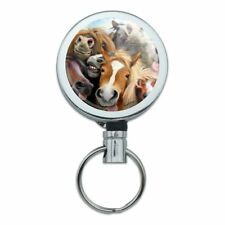 Horses Selfie Metal Retractable Belt Clip Reel ID Badge Key Card Tag Holder