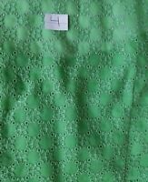 A27 Vintage Green Eyelet Salvage Fabric Floral Remnant Cutter Sewing Doll
