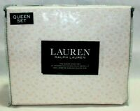 Ralph Lauren Four Piece Queen Sheet Set Small Peach Flowers 100% Cotton New