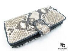 PELGIO Genuine Python Snake Skin Leather Zip Around Clutch Wallet Purse Natural