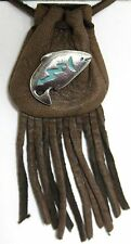 "Medicine bag  - Fish (on brown draw) ""long life and good fortune"""