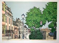 Denis Paul NOYER-Lithographie originale signée-Jardin public à Amsterdam
