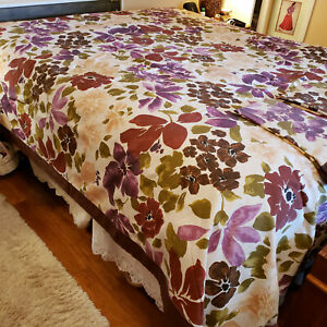 Large Floral Queen Size Duvet Cover w Shams 96x90 Martha Stewart  Purple Pink