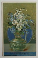 Antique Postcard 'A Happy Birthday', Floral 1912, printed in Germany, Never Used