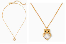 Kate Spade Gold Plate Into The Woods MOP Owl Pendant Mini Necklace O0ru2852