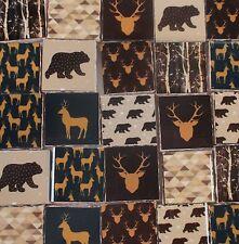 Ceramic Mosaic Tiles - Rustic Bear Deer Trees Brown Blue Mosaic Tile Pieces