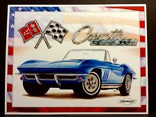 Corvette 65 Stingray Tin Sign Classic SPORT CAR Art Metal Wall Decor CHEVROLET