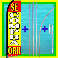 SE COMPRA ORO (We Buy Gold) 15' TALL SWOOPER FLAG KIT Feather Flutter Bow Banner