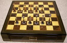 Chess Set with Wood Board & Ebony Storage Box Solid metal Pieces 2 5/8 Kings NEW