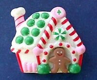 Hallmark PIN Christmas GINGERBREAD MAN Candy HOUSE Vintage Holiday Brooch