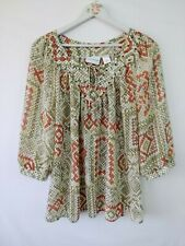 Alfred Dunner Women's Blouse Size 14 Sheer Peasant Embelished