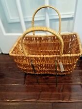 QUICKWAY IMPORTS WICKER FRONT BICYCLE BASKET WITH HANDLES NWT!