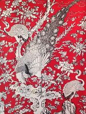 p m  Designer Exotic Bird Of Paradise Cotton Linen Curtain Or Upholstery Fabric