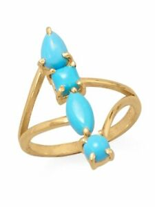 Synthetic Turquoise Ring Stacked Design Split Band Multiple Shape Stones