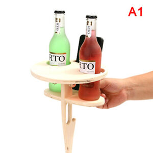 Portable Folding Beach Table for Sand and Grass Natural Wood Outdoor Wine Snack+