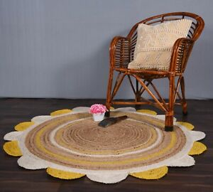 scalloped round rug beige & white/ yellow color rug indoor-outdoor round rugs